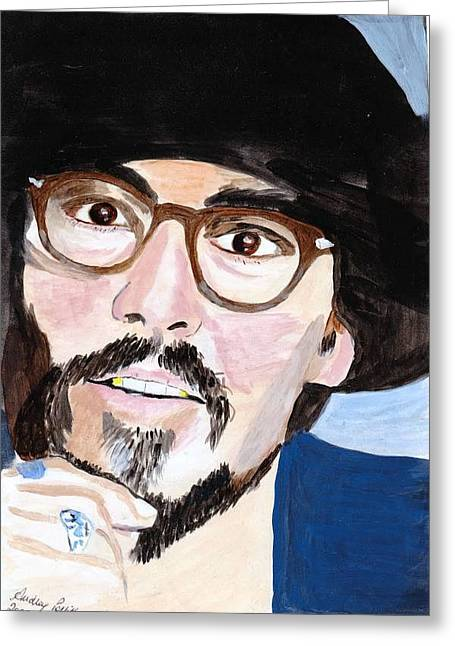 Greeting Card featuring the painting Johnny Depp 5 by Audrey Pollitt