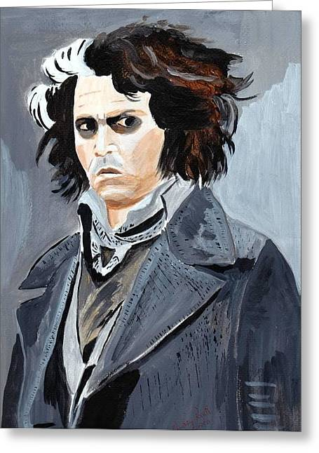 Greeting Card featuring the painting Johnny Depp 6 by Audrey Pollitt