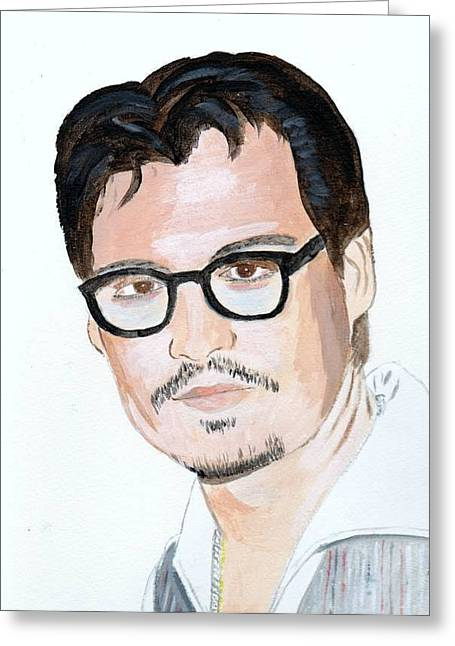 Greeting Card featuring the painting Johnny Depp 7 by Audrey Pollitt