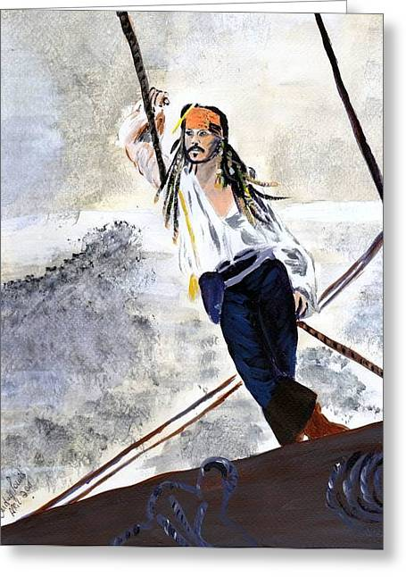 Greeting Card featuring the painting Johnny Depp 8 by Audrey Pollitt