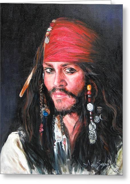 Johnny Depp Greeting Card by Anju Saran
