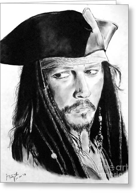 Johnny Depp As Captain Jack Sparrow In Pirates Of The Caribbean Greeting Card by Jim Fitzpatrick