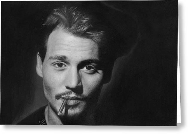 Johnny Depp Greeting Card by Nat Morley