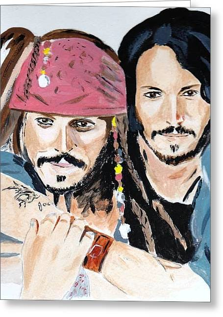 Greeting Card featuring the painting Johnny Depp X 2 by Audrey Pollitt