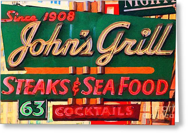 Johns Grill In San Francisco . Home Of The Maltese Falcon Greeting Card by Wingsdomain Art and Photography