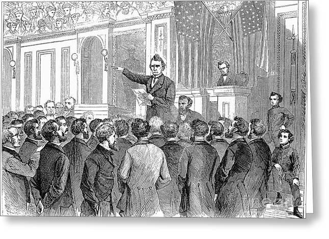 Johnson Impeachment, 1868 Greeting Card by Granger