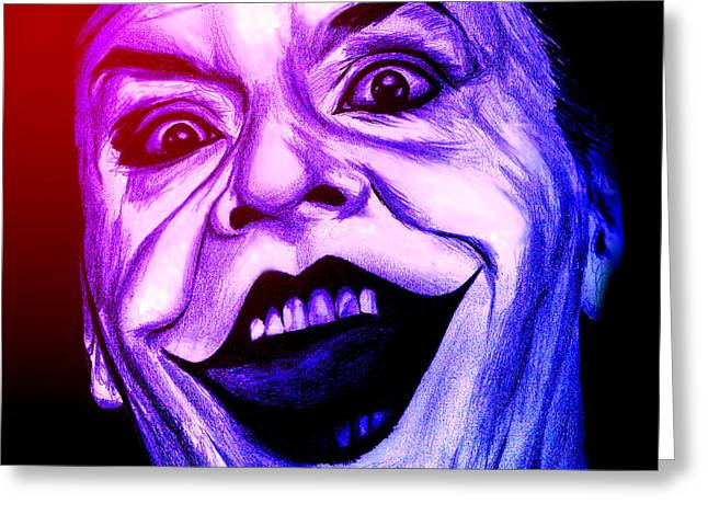 Joker Neon Greeting Card by Michael Mestas
