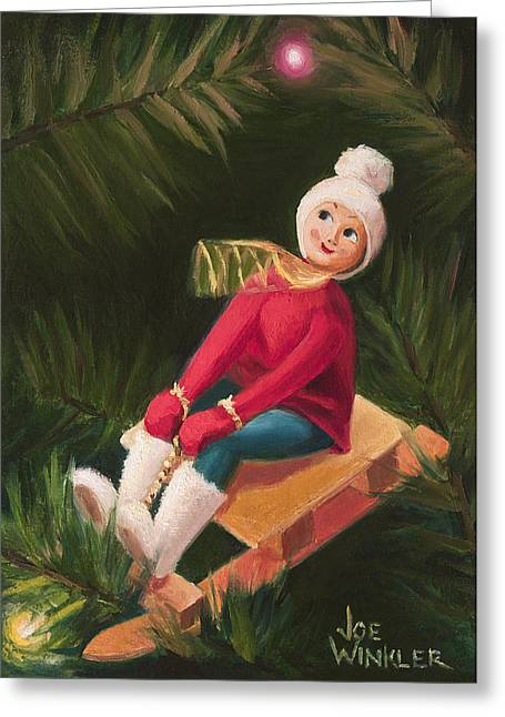 Greeting Card featuring the painting Jolly Old Elf by Joe Winkler
