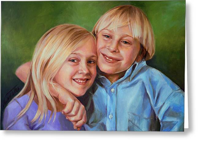 Greeting Card featuring the painting Jonathan And Jessica by Nancy Tilles