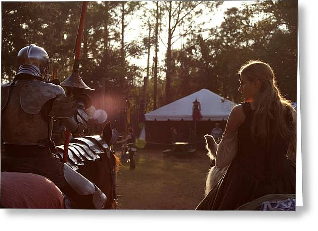 Joust One Knight Greeting Card by Sean Green