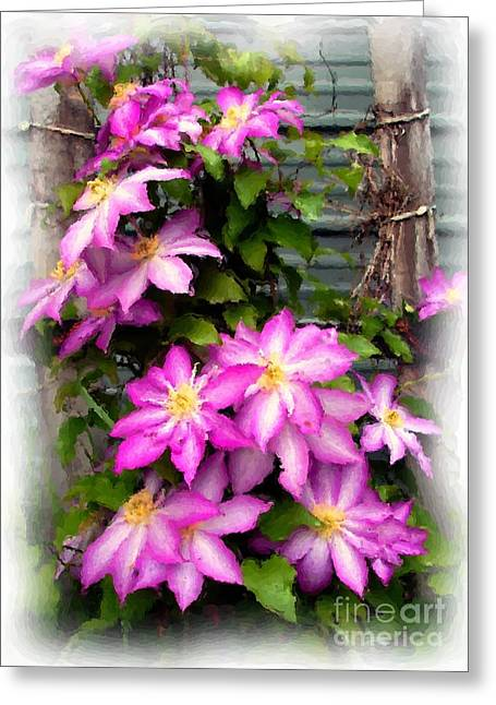 Joy Clematis Greeting Card