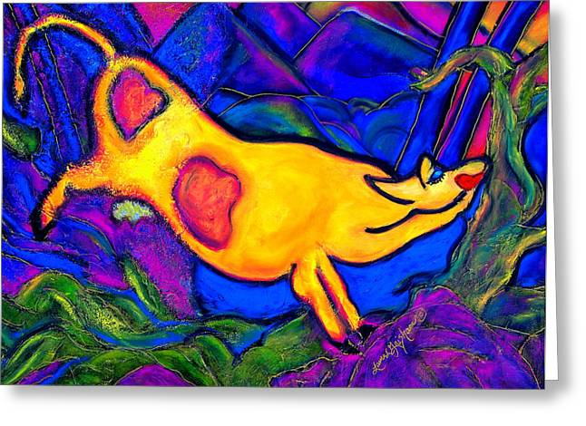 Joyful Yellow Cow Greeting Card by Laura  Grisham