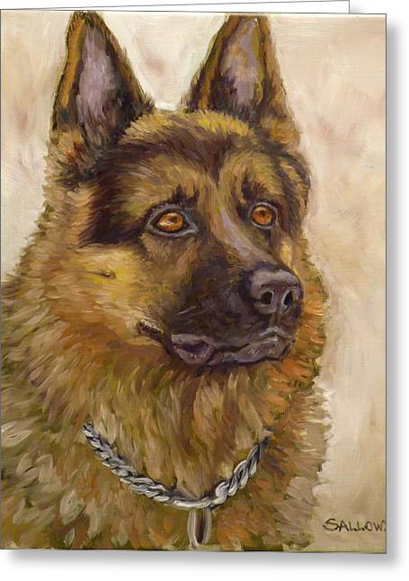 Judge A German Shepherd Greeting Card by Nora Sallows