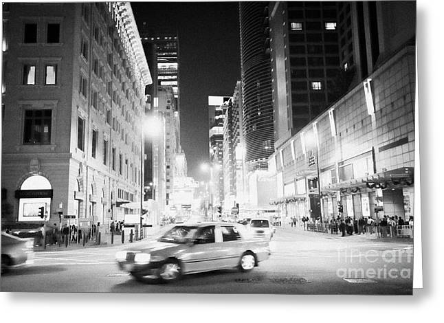 Junction Of Salisbury Road And Nathan Road Tsim Sha Tsui Kowloon At Night Hong Kong Hksar China Asia Greeting Card by Joe Fox