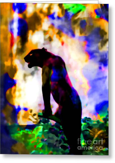 Greeting Card featuring the painting Jungle Cat On The Prowl by Elinor Mavor