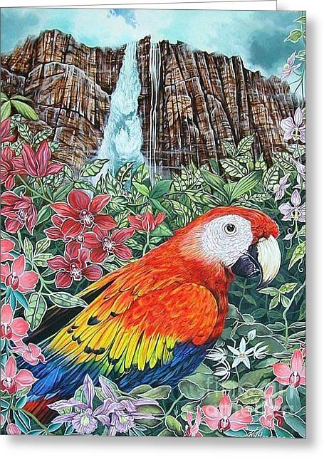 Jungle Parrot Greeting Card by Kimberlee  Ketterman Edgar