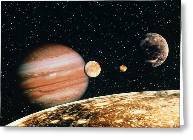 Jupiter And The Galilean Moons Seen From Callisto Greeting Card