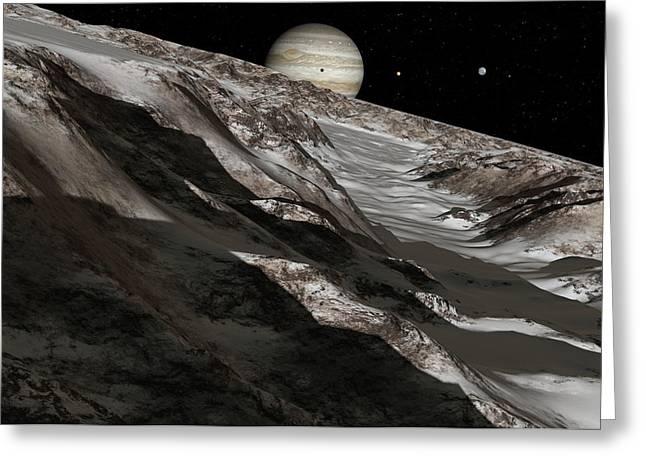 Jupiter From Ganymede, Artwork Greeting Card by Detlev Van Ravenswaay