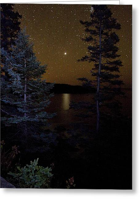 Greeting Card featuring the photograph Jupiter Rising Over Otter Point by Brent L Ander
