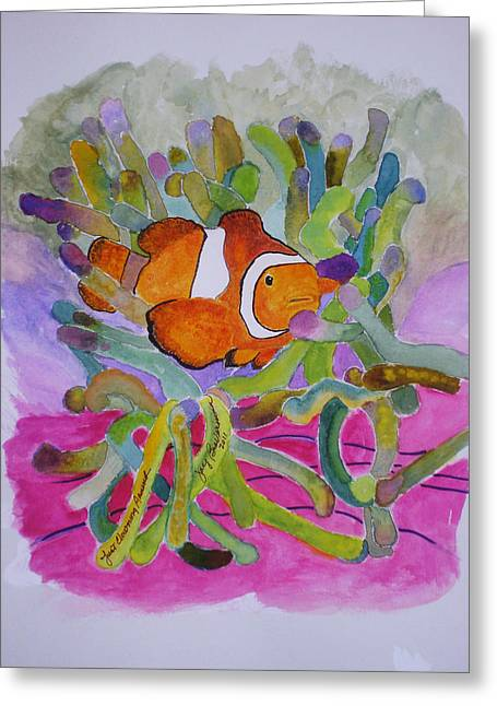 Greeting Card featuring the mixed media Just Clowing Around by Joy Braverman