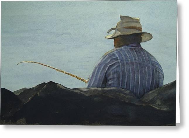 Just Fishing Greeting Card by Sarah Buell  Dowling