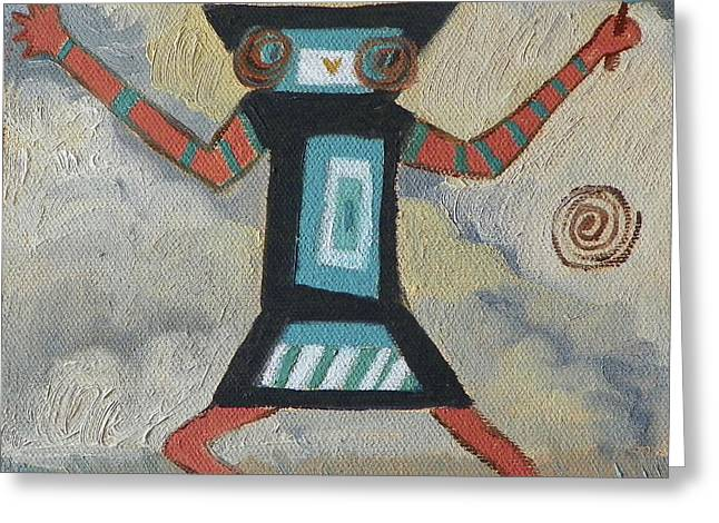 K Is For Kachina Detail From Childhood Quilt Painting Greeting Card by Dawn Senior-Trask
