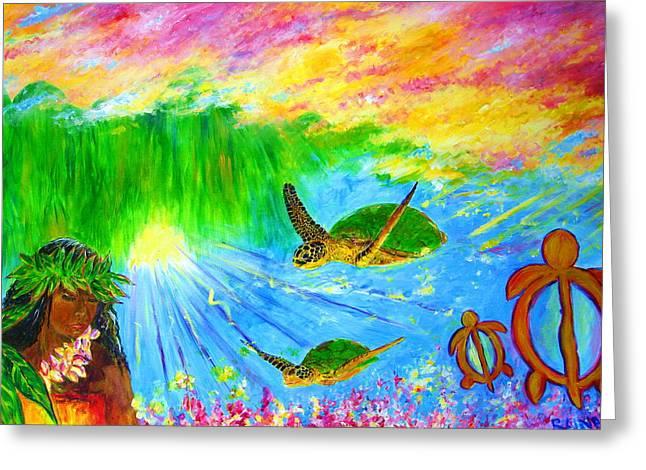 kahuna-Honu Greeting Card by Tamara Tavernier