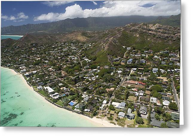 Kailua Aerial Greeting Card by Peter French