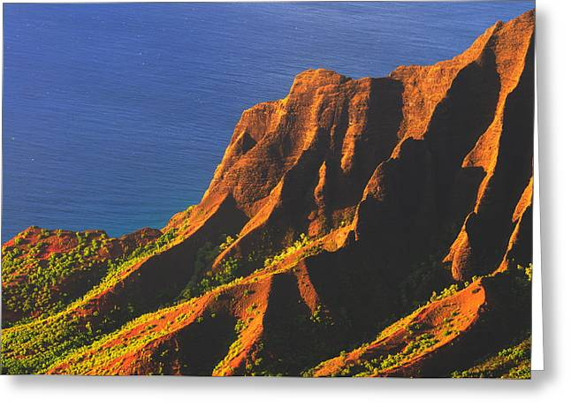 Kalalau Valley Sunset In Kauai Greeting Card by Hegde Photos
