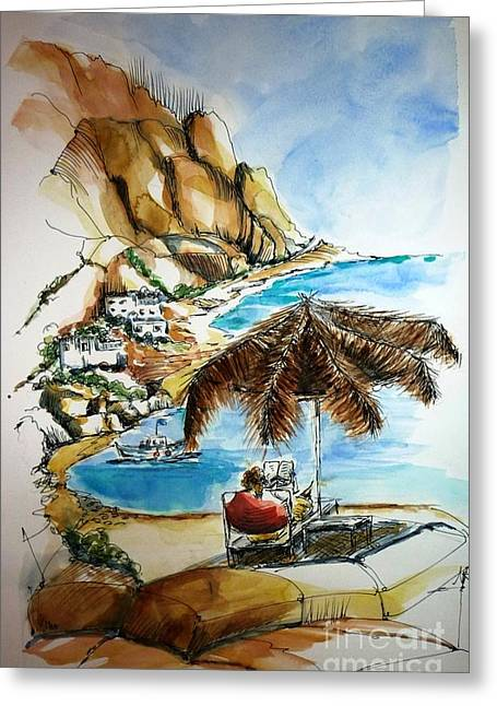Greeting Card featuring the painting Kalymnos 2 by Therese Alcorn