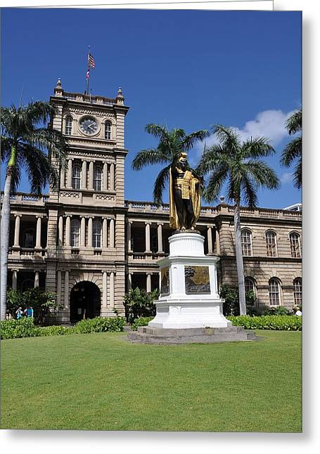 Kamehameha And  Aliiolani Hale Greeting Card by Donald Sauret