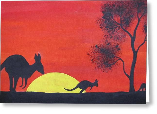 Kangaroo Sunset  Greeting Card by Courtney Adams