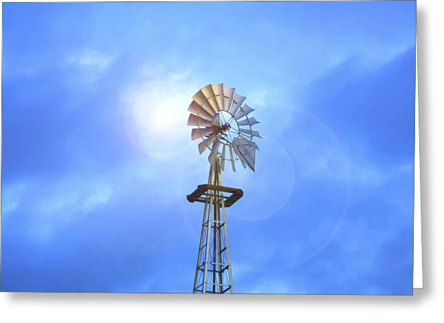 Kansas Windmill In The Sun Greeting Card