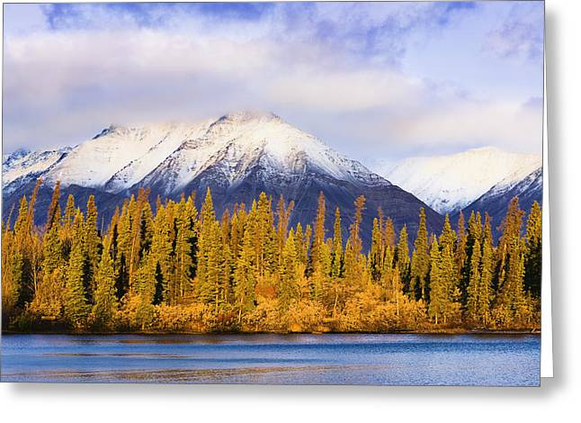 Kathleen Lake And Mountains At Sunrise Greeting Card by Yves Marcoux