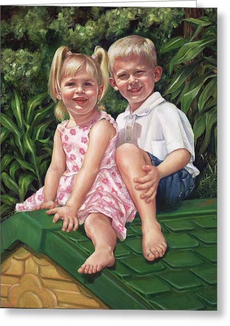 Greeting Card featuring the painting Katie And Mitchell by Nancy Tilles