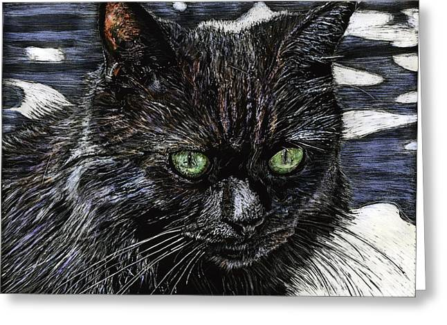 Katie The Cat Greeting Card by Robert Goudreau