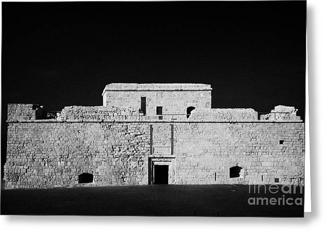 Kato Paphos Mediaeval Fort With Stage Built Around The Front Harbour Republic Of Cyprus Greeting Card by Joe Fox