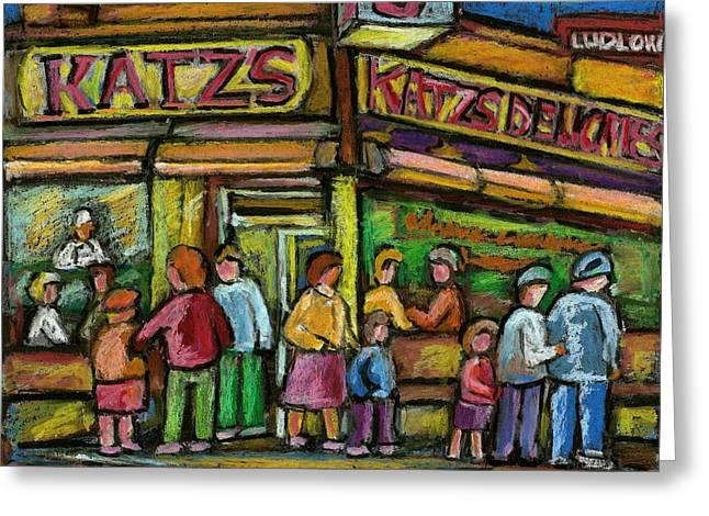 Katz's Houston Street Deli Greeting Card by Carole Spandau