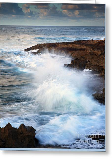 Kauai Sea Explosion Greeting Card by Mike  Dawson