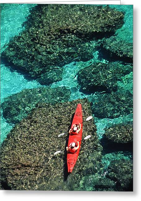 Kayakers In Clear Blue Water Greeting Card by Ralph Lee Hopkins