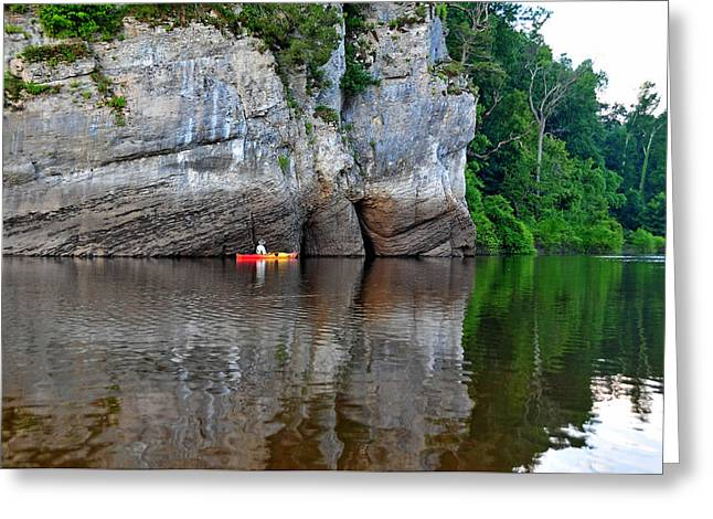 Kayaking The Big Muddy Greeting Card by Donna Caplinger