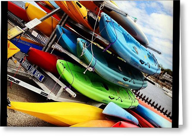 Kayaks For Rent In Rockport Greeting Card by Matthew Green