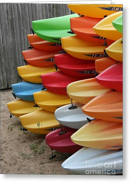Kayaks Greeting Card by Kerryn Davis