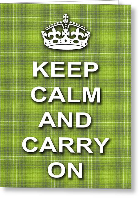 Keep Calm And Carry On Poster Print Green Plaid Background Greeting Card