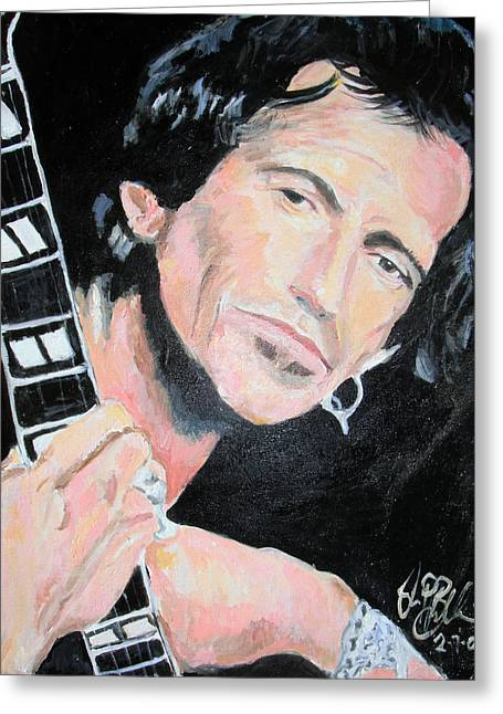 The Rolling Stones Art Work Greeting Cards - Keith Richards  Greeting Card by Jon Baldwin  Art