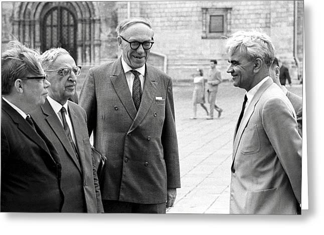 Keldysh (right) With Soviet Scientists Greeting Card by Ria Novosti