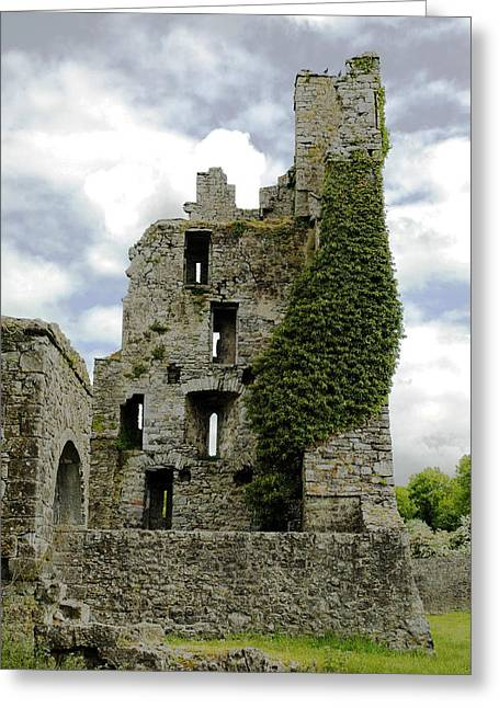 Kells Abbey Tower Greeting Card by George Crawford