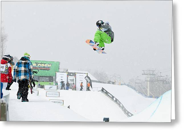 Kelly Clark Womens U S Snow Boarding Open 2011 Greeting Card by Linda Pulvermacher