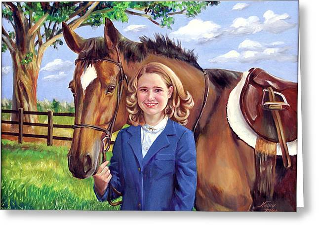 Greeting Card featuring the painting Kendall And Her Horse by Nancy Tilles
