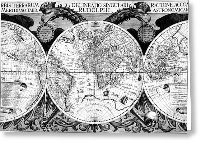 Keplers World Map, Tabulae Greeting Card by Science Source